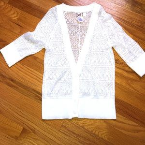 SO Sweaters - SO white 3/4 length cardigan